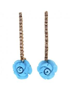 Turquoise Roses Earrings