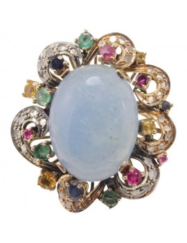 Oval of Acquamarina Ring
