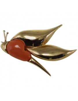 Coral in Flight Brooch
