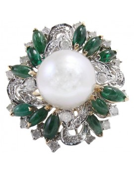 Flower Emerald Ring