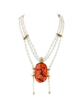 Tiger of Coral Necklace