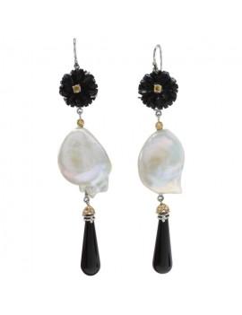 Flower Black Earrings