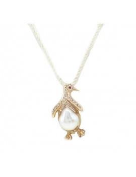 Penguin pendant pendant in yellow gold diamonds ruby and pearl aloadofball Images