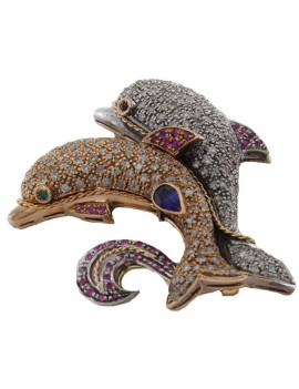 Dolphins in Love Brooch