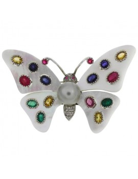 Butterfly White Brooch