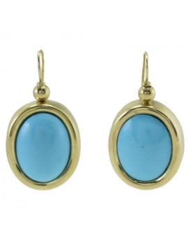 Oval Blue Earrings