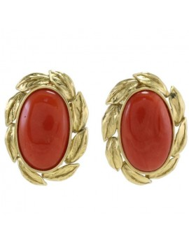Oval Red Earrings