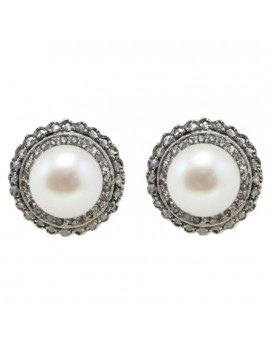 Buttons Pearls Earrings